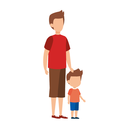 father with son characters vector illustration design