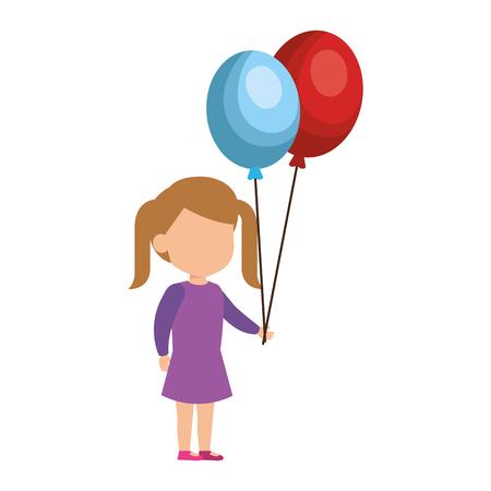 beautiful little girl with balloons helium vector illustration design Illusztráció