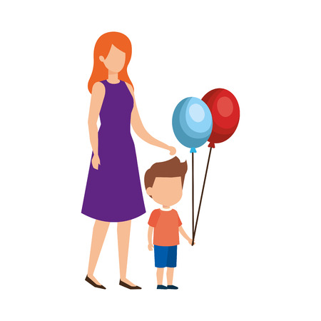 mother with son and balloon helium vector illustration design