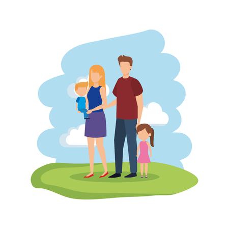 parents couple with daughter and son vector illustration design