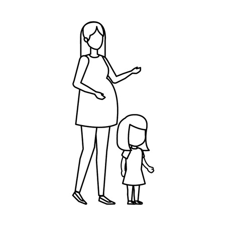 woman pregnancy with daughter vector illustration design