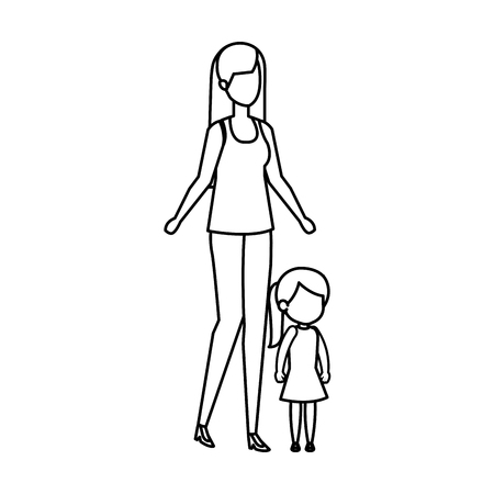 mother with daughter characters vector illustration design Standard-Bild - 125389033