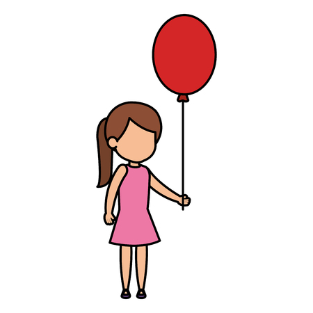 beautiful little girl with balloons helium vector illustration design 일러스트