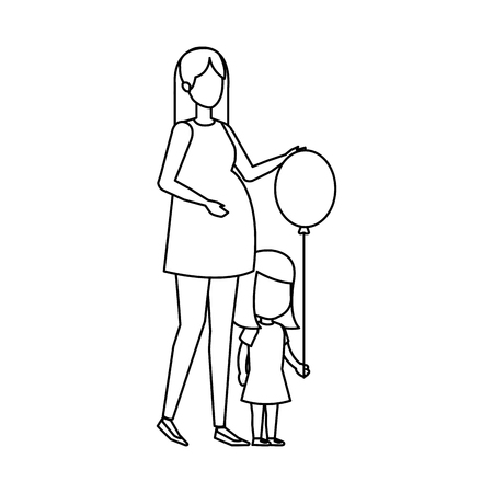 woman pregnancy with daughter and balloon helium vector illustration