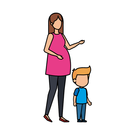 woman pregnancy with son vector illustration design
