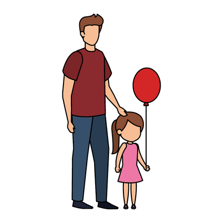 father with daughter and balloons helium vector illustration design