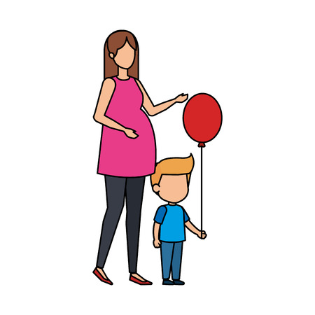 woman pregnancy with son and balloon helium vector illustration design
