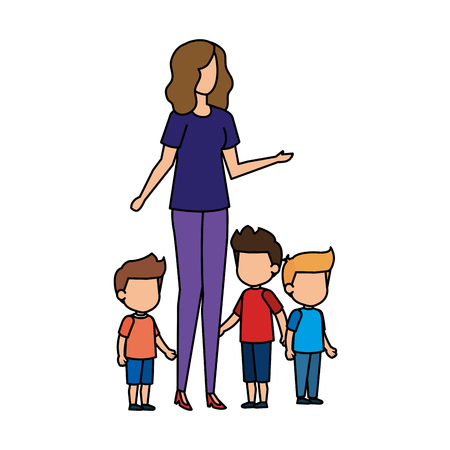 mother with sons characters vector illustration design 矢量图像