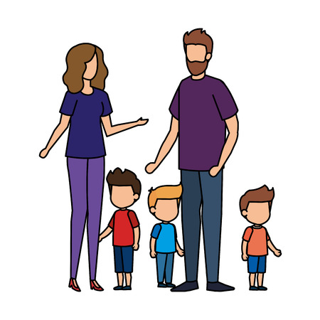 parents couple with sons characters vector illustration design 矢量图像