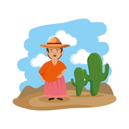 traditional mexican woman character vector illustration design