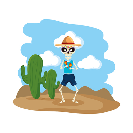 skeleton mexican with hat and maracas vector illustration design Illustration