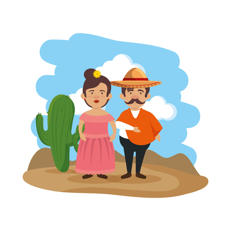 traditional mexican couple characters vector illustration design 写真素材 - 116694562