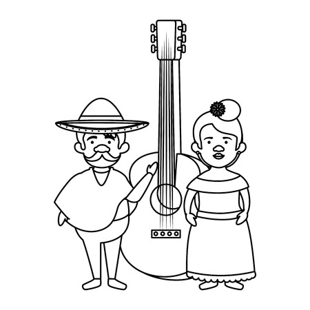 traditional mexican couple with guitar vector illustration design