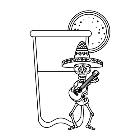skeleton mexican with guitar and lemonade vector illustration design Illustration