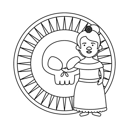 traditional mexican woman with skull coin vector illustration design Иллюстрация