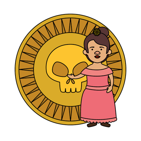 traditional mexican woman with skull coin vector illustration design  イラスト・ベクター素材