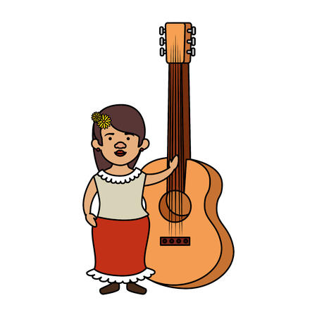 traditional mexican woman with guitar vector illustration design