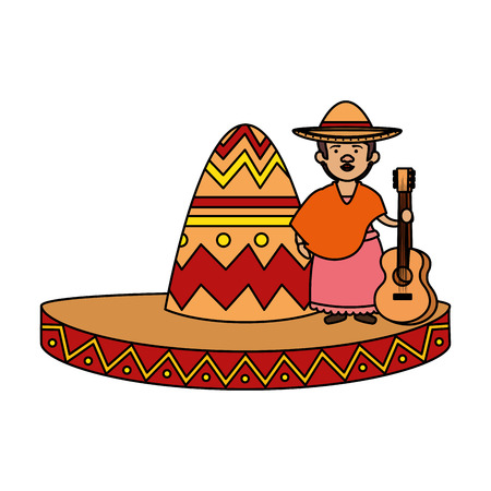 traditional mexican woman with guitar and hat vector illustration design