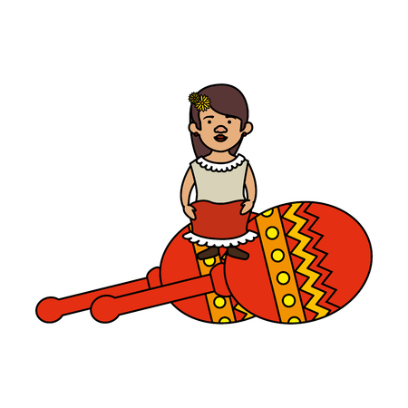 traditional mexican woman with maracas vector illustration design