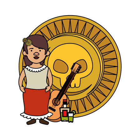 traditional mexican woman with guitar and coin vector illustration design
