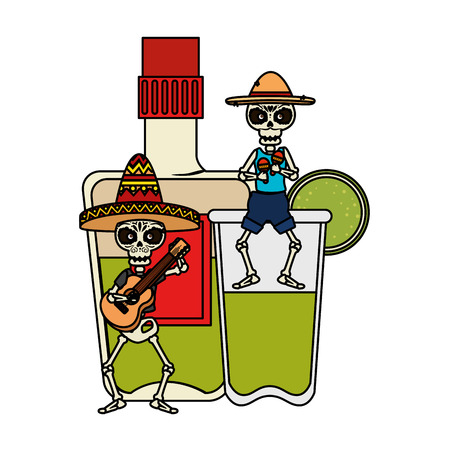 skeletons mexicans orchesta musical and tequila drink vector illustration