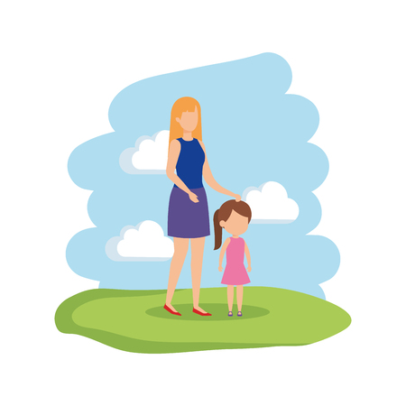 mother with daughter characters vector illustration design Standard-Bild - 125318970
