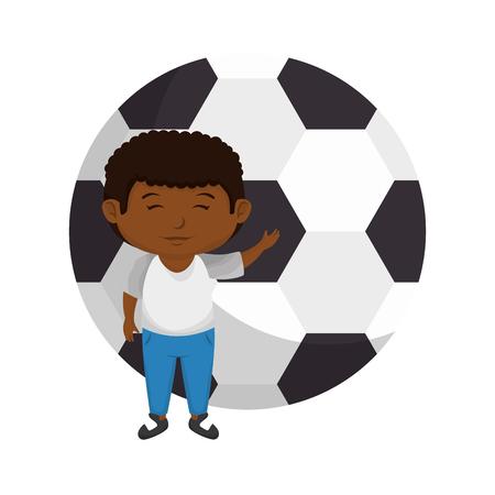 little black boy with soccer balloon vector illustration design