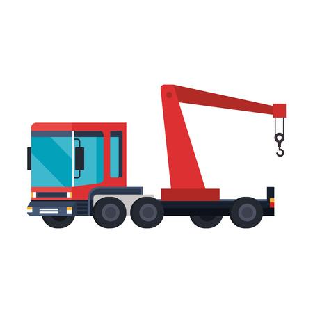 truck crane logistic service vector illustration design