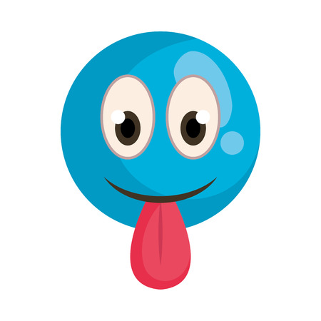 happy fool face emoticon with tongue out vector illustration design