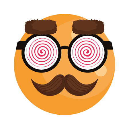 happy fool face emoticon with glasses and mustache vector illustration