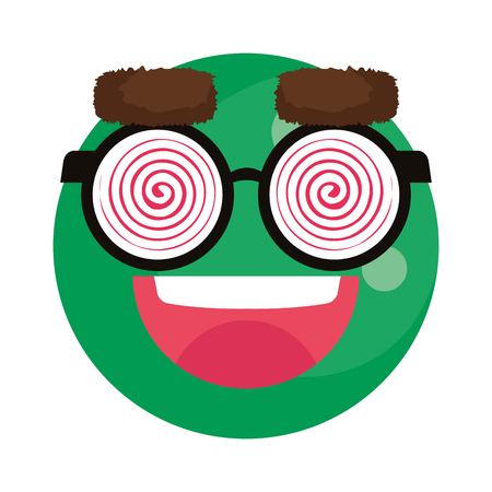 happy fool face emoticon with eyeglasses vector illustration design 일러스트