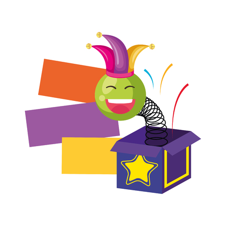 surprise box with happy fool face vector illustration design 일러스트