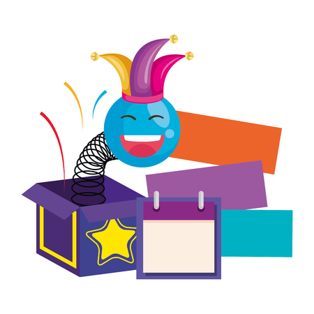 surprise box with happy fool face and calendar vector illustration design