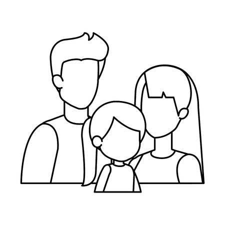parents couple with daughter characters vector illustration design Stock Vector - 116694578