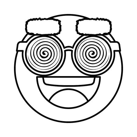 happy fool face emoticon with eyeglasses vector illustration design Illustration