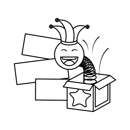 surprise box with happy fool face vector illustration design Stock Illustratie