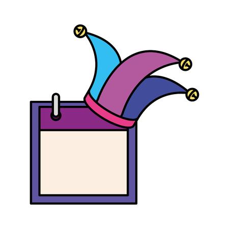 joker hat accessory with calendar vector illustration design