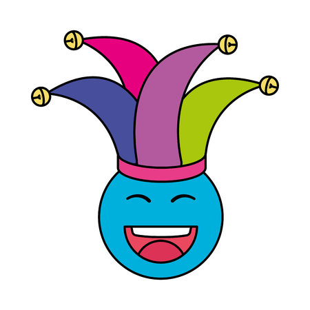 happy face with joker hat emoticon vector illustration design