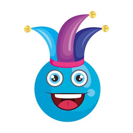 visage heureux avec joker hat émoticône vector illustration design