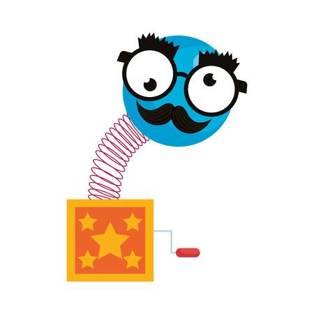 surprise box with happy fool face vector illustration design Иллюстрация