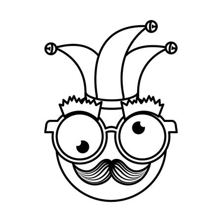 happy face with joker hat emoticon vector illustration design