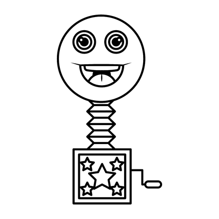 surprise box with happy fool face vector illustration design 向量圖像