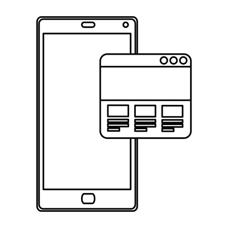smartphone device with webpage template vector illustration design