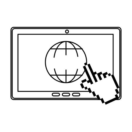 tablet device with planet browser vector illustration design