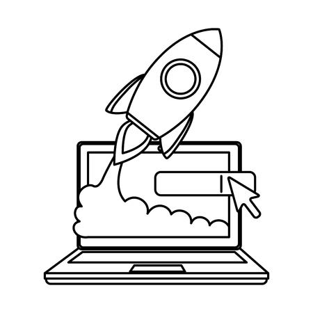laptop computer with rocket launcher vector illustration design