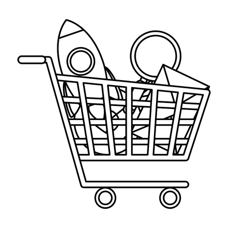 shopping cart with business icons vector illustration design