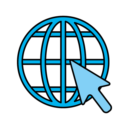 sphere planet browser with mouse cursor vector illustration design