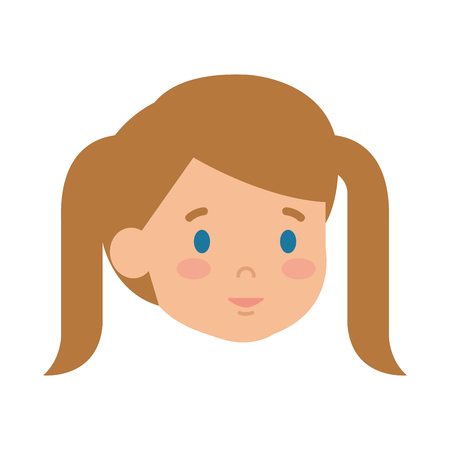 beautiful little girl head character vector illustration design