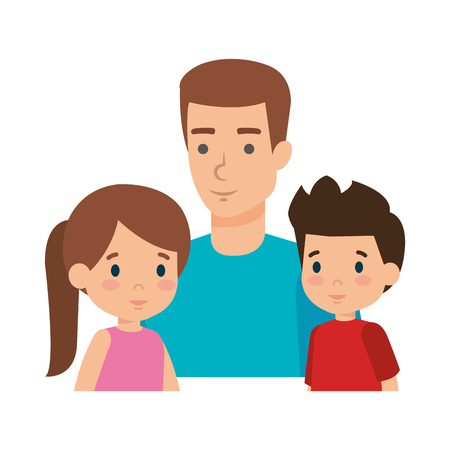 father with son and daughter characters vector illustration design Stock Vector - 116694171