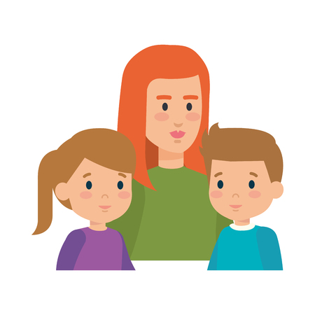 mother with daughter and son characters vector illustration design